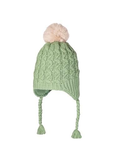POKY Yeni Sezon Kız Çocuk 4-8 Yaş Saç Örgülü Kulaklı Polar Bere-2660-04 Yeşil